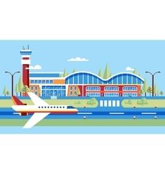 Airplane airstrip big airport for flights vector