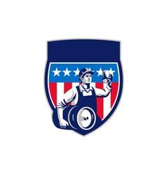 American Construction Worker Beer Keg Crest Retro vector image