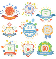 Anniversary celebration emblems set with ribbons vector image