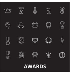 awards editable line icons set on black vector image