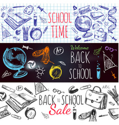 back to school banner set vector image