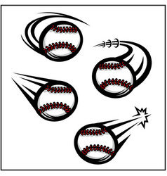 Baseball swoosh set 4 vector