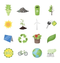 Bio and ecology set icons in cartoon style Big vector