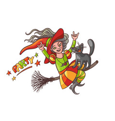 bright happy girl witch on broom with cat vector image