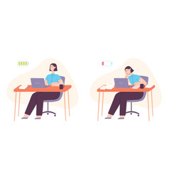 burnout office worker exhausted woman working vector image