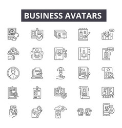 business avatars line icons for web and mobile vector image