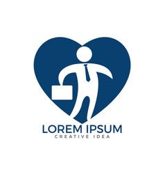 businessman with bag heart shape logo design vector image