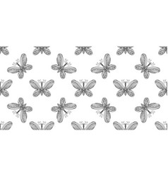 Butterfly pattern linear art black and white vector