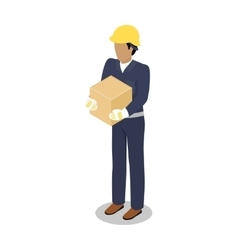 Cargo handler in yellow helmet with container vector