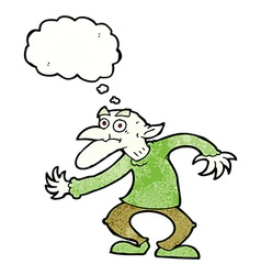 Cartoon goblin with thought bubble vector