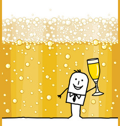 Cartoon man drinking champagne and bubbles vector
