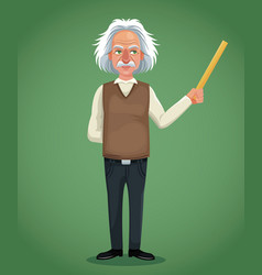 Character scientist physical holding ruler green vector