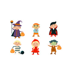 children in colorful halloween costumes set kids vector image