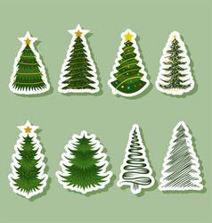 Christmas tree sticker vector