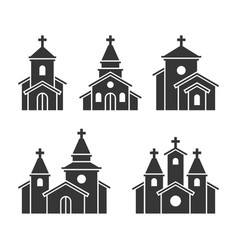 Church building icons set on white background vector
