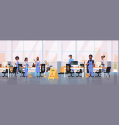 cleaners team in uniform working together cleaning vector image