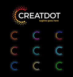 Clever creative dots point colorful letter c vector