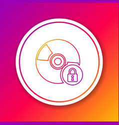 Color cd or dvd disk with closed padlock line vector