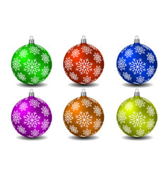 Colored christmas balls with snowflakes vector