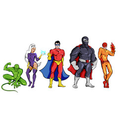 Comic superheroes set vector