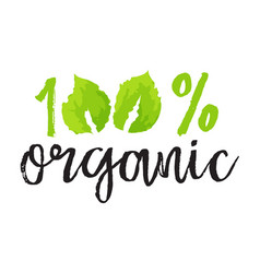 Cosmetics and beauty label - 100 organic vector