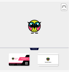 cute owl logo template free business card design vector image