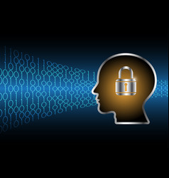 Cyber security master key lock human head vector