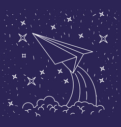 dark blue background with hand drawn paper plane vector image