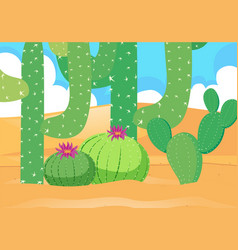 desert field with beautiful cactus vector image