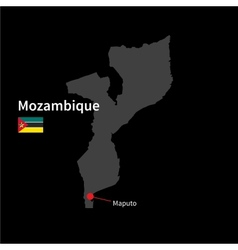 Detailed map of Mozambique and capital city Maputo vector image