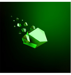 Falling beauty stone emerald space debris green vector
