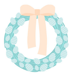 festive easter wreath with blue easter eggs vector image