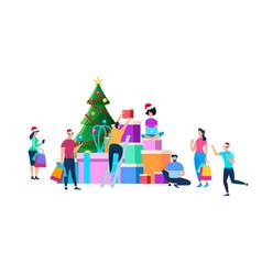 festive people preparing for christmas celebration vector image