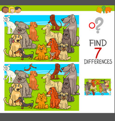find differences game with dogs animal characters vector image