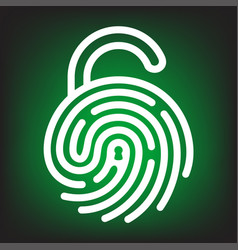 fingerprint with lock shape vector image