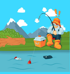 fisherman with fishing road catching a fish vector image