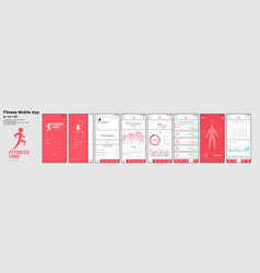 fitness app screens vector image