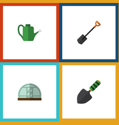 Flat icon farm set of hothouse spade trowel and vector