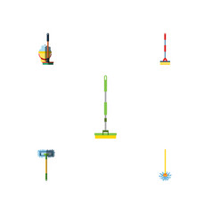 flat icon mop set of besom mop broomstick and vector image