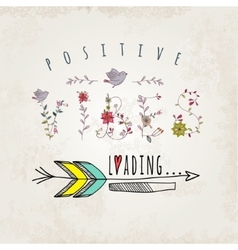 Floral elements of vintage Phrase possitive vibes vector