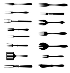 Forks icon set vector image