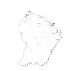 French Guiana Black White Map vector