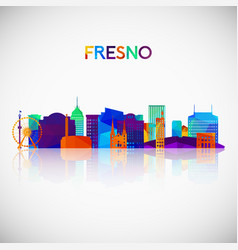 fresno skyline silhouette in colorful geometric vector image