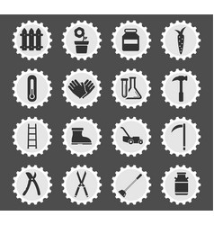 Garden tools simply icons vector