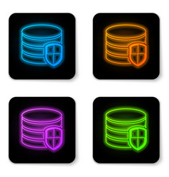 glowing neon database protection icon isolated on vector image