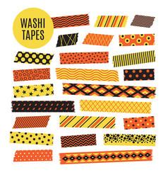Halloween tape strips orange and black vector