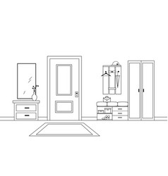 Hallway interior with furniture lineart design vector