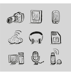 Hand drawn mobile devices black icon set vector image