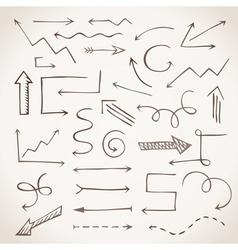 Hand-drawn sketchy arrows in sepia vector