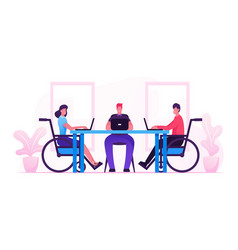 Handicapped employees and healthy office worker vector